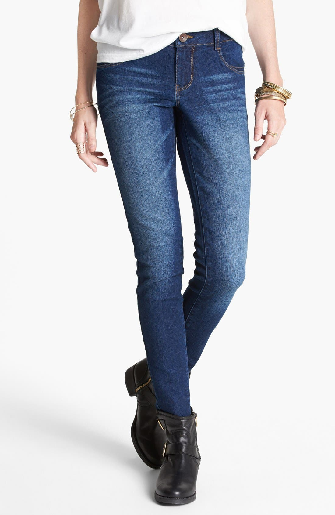 Alternate Image 1 Selected - Jolt Faded Skinny Jeans (Dark) (Juniors) (Online Only)