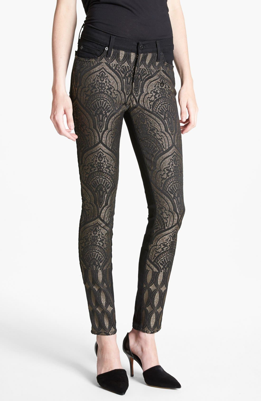 Main Image - 7 For All Mankind® 'The Pieced' Skinny Jeans (Art Nouveau Jacquard)
