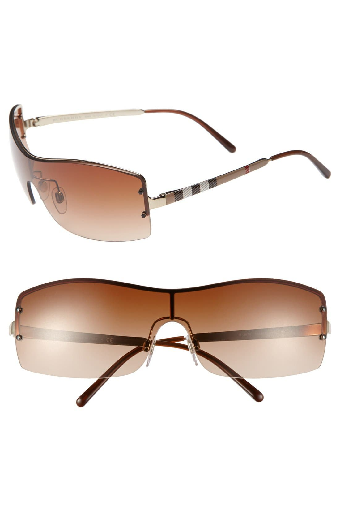 Alternate Image 1 Selected - Burberry 'House Check Foil' 70mm Shield Sunglasses