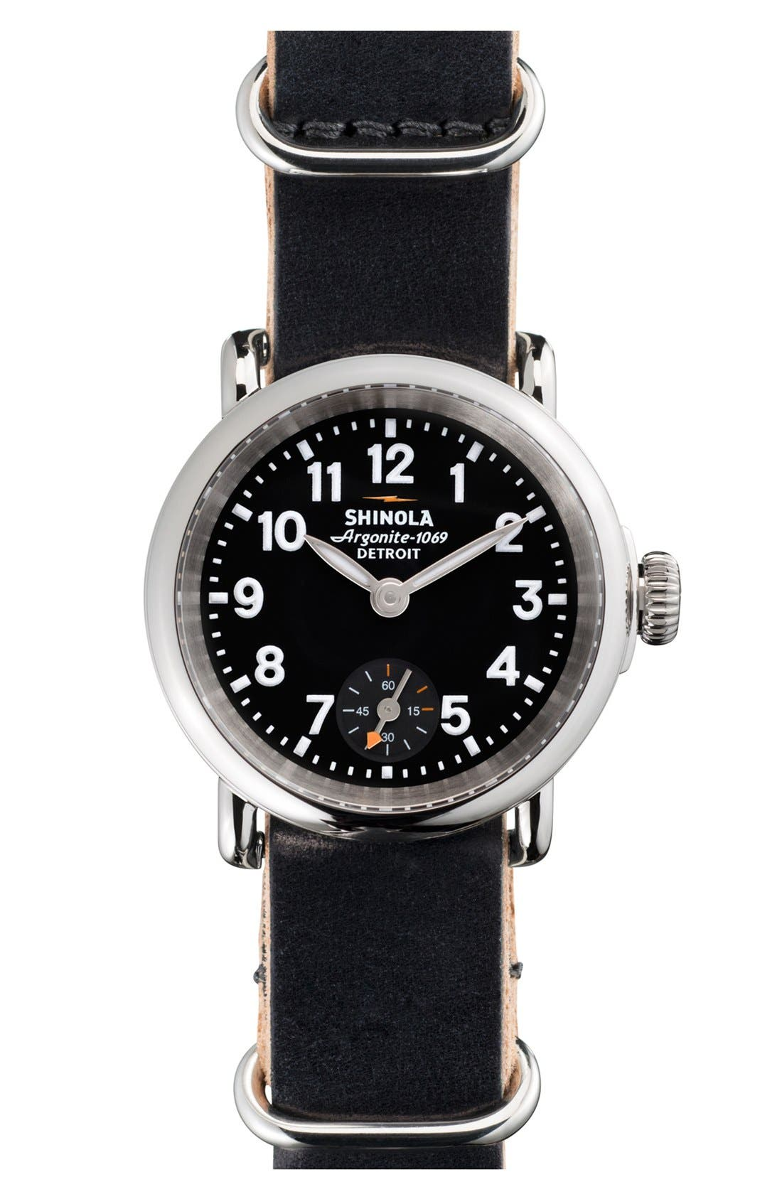 Alternate Image 1 Selected - Shinola 'The Runwell' Leather Strap Watch, 28mm