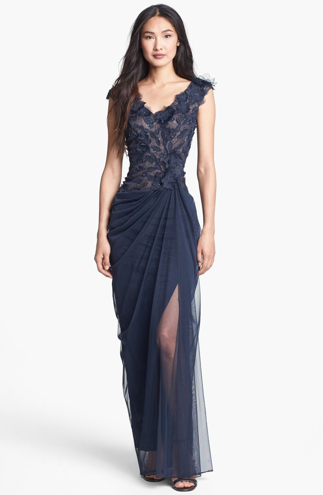 Alternate Image 1 Selected - Tadashi Shoji Embellished V-Neck Tulle Gown