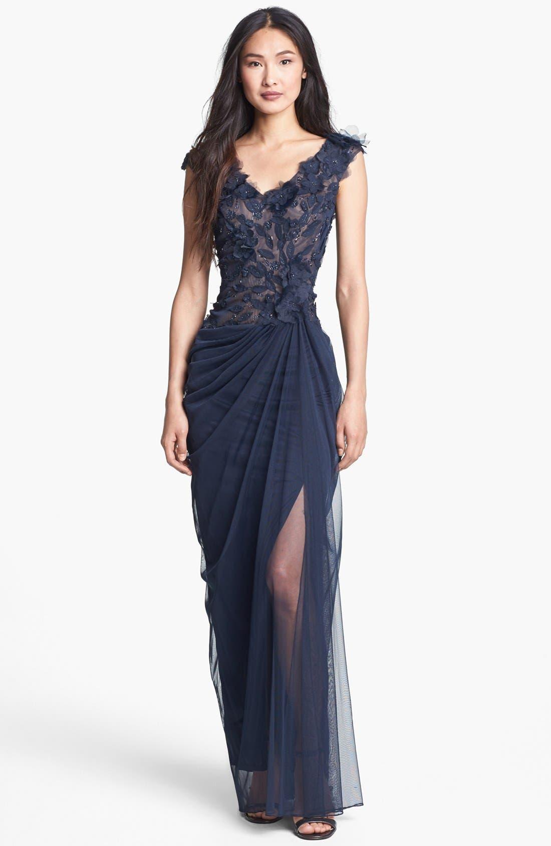 Main Image - Tadashi Shoji Embellished V-Neck Tulle Gown