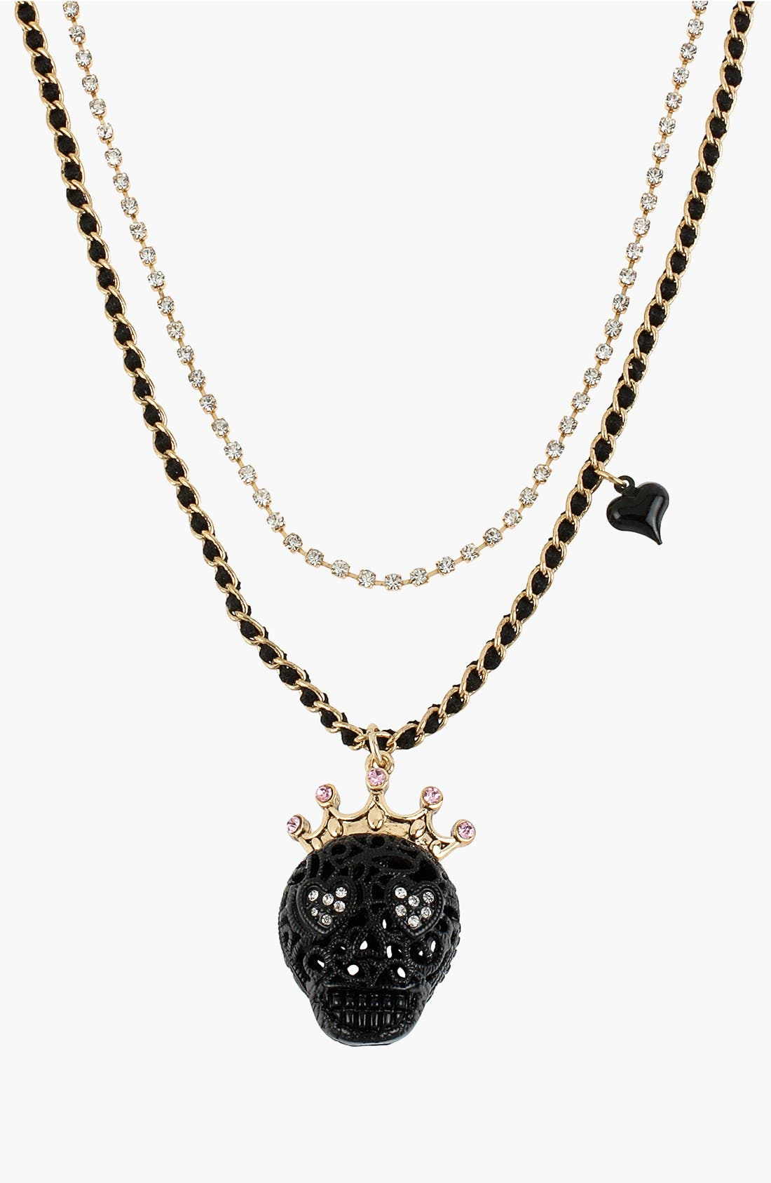 Alternate Image 1 Selected - Betsey Johnson 'Black Lace Skulls' Multistrand Necklace