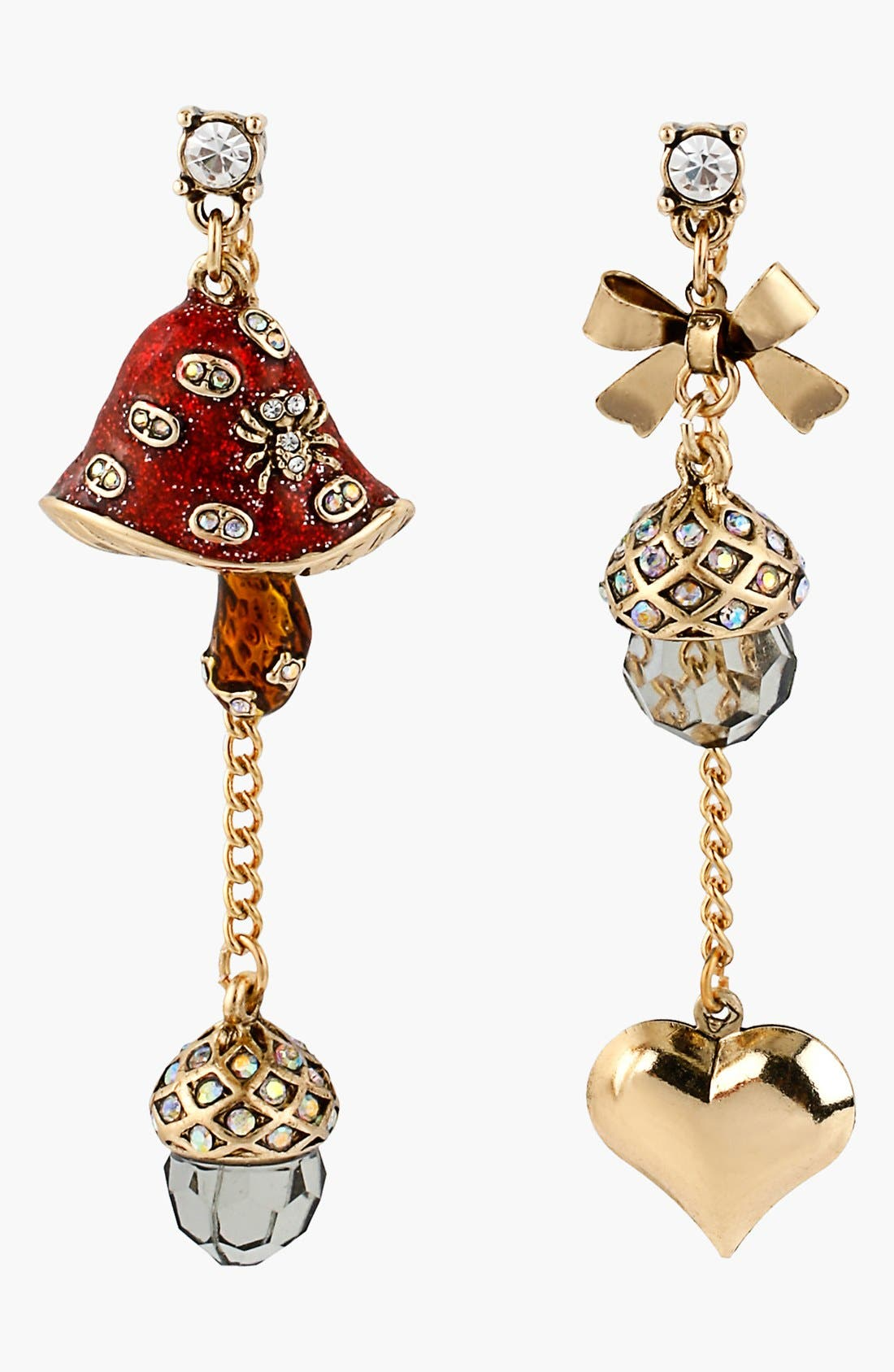 Main Image - Betsey Johnson 'Enchanted Forest' Mismatched Drop Earrings