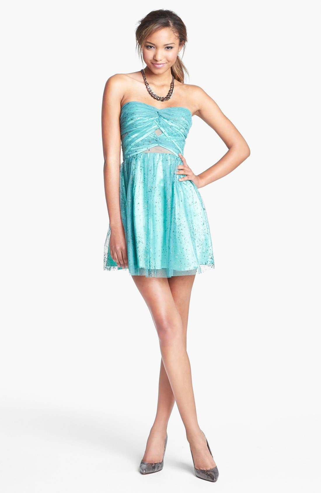 Alternate Image 1 Selected - Hailey Logan Mesh Inset Glitter Chiffon Fit & Flare Dress (Juniors) (Online Only)