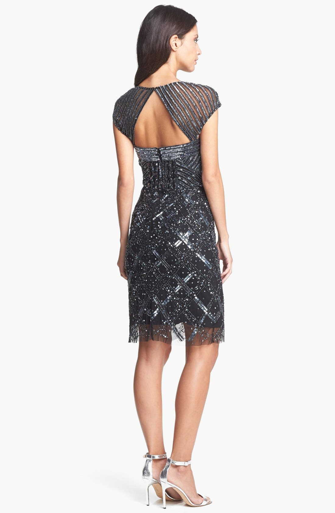 Alternate Image 2  - Adrianna Papell Embellished Mesh Dress (Regular & Petite)