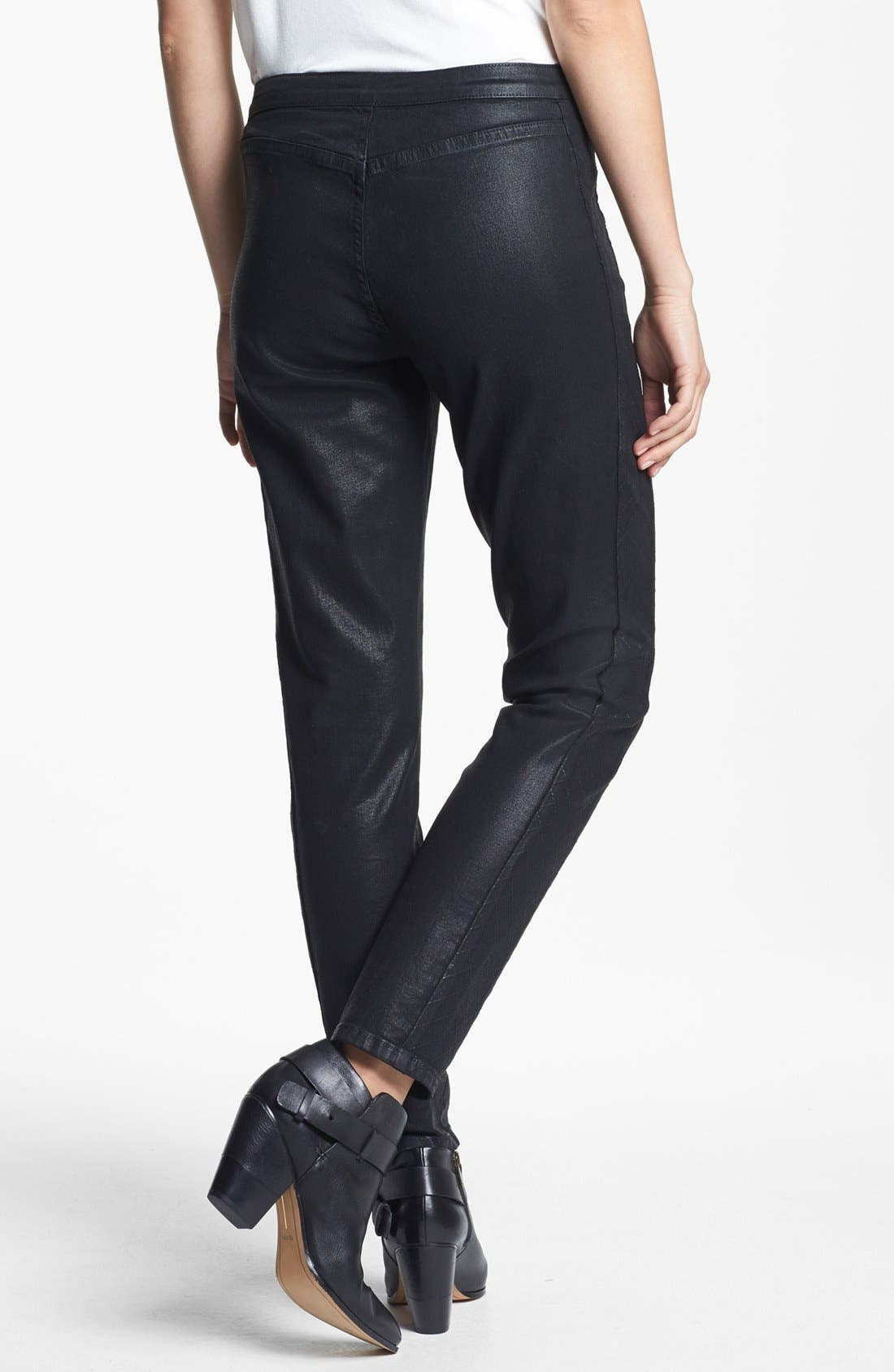 Alternate Image 2  - NYDJ Coated Stretch Skinny Jeans (Black)