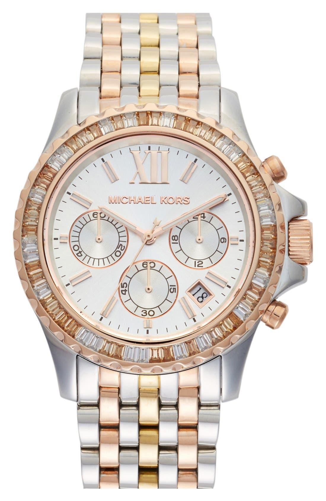 Main Image - Michael Kors 'Everest' Crystal Bezel Tri Tone Bracelet Watch, 42mm