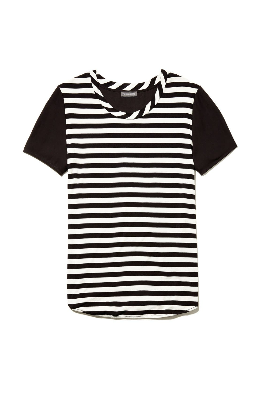 Alternate Image 4  - Vince Camuto Stripe Front Mixed Media Tee