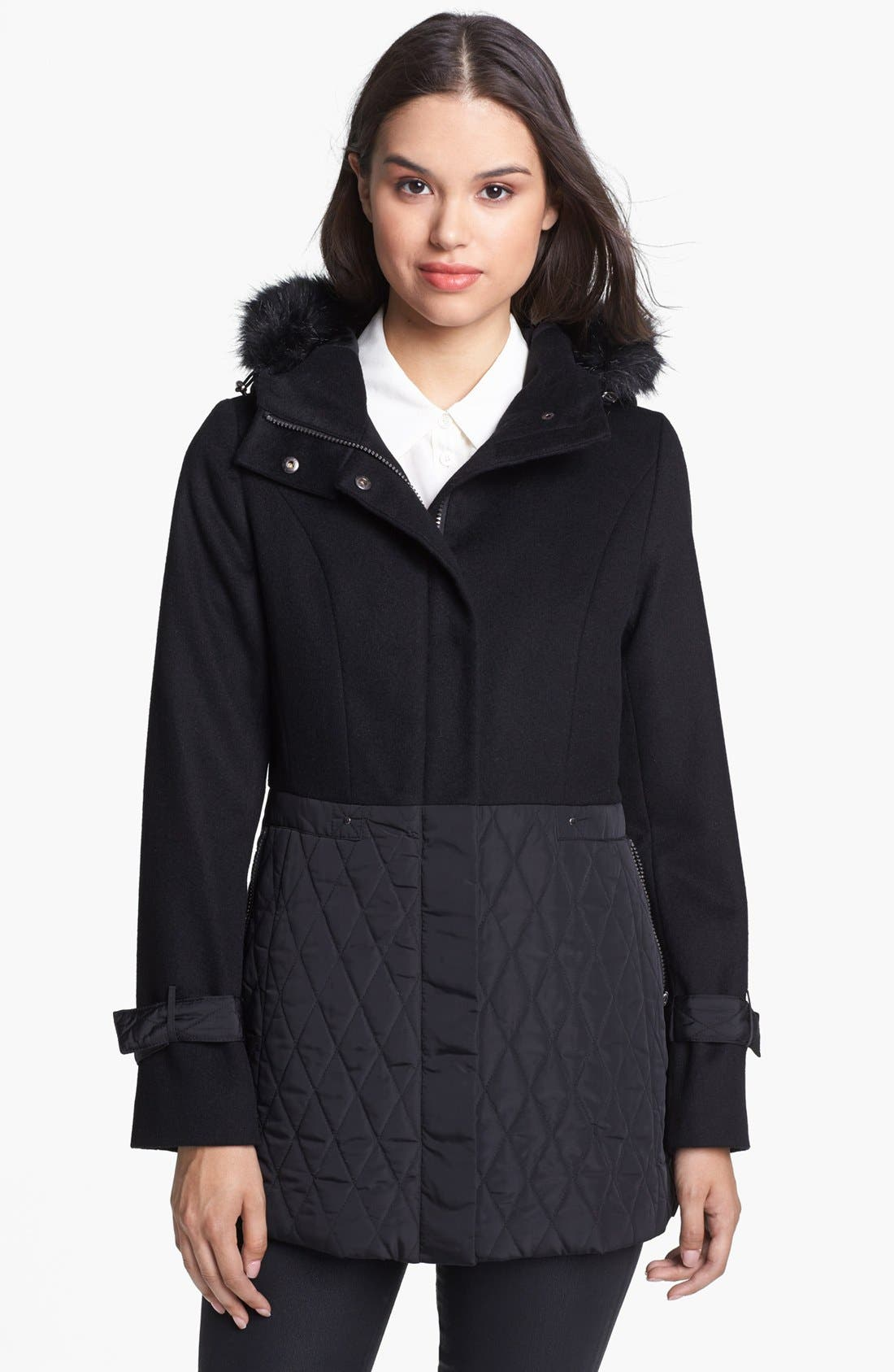 Alternate Image 1 Selected - Kristen Blake Wool Blend & Quilted Coat (Nordstrom Exclusive)