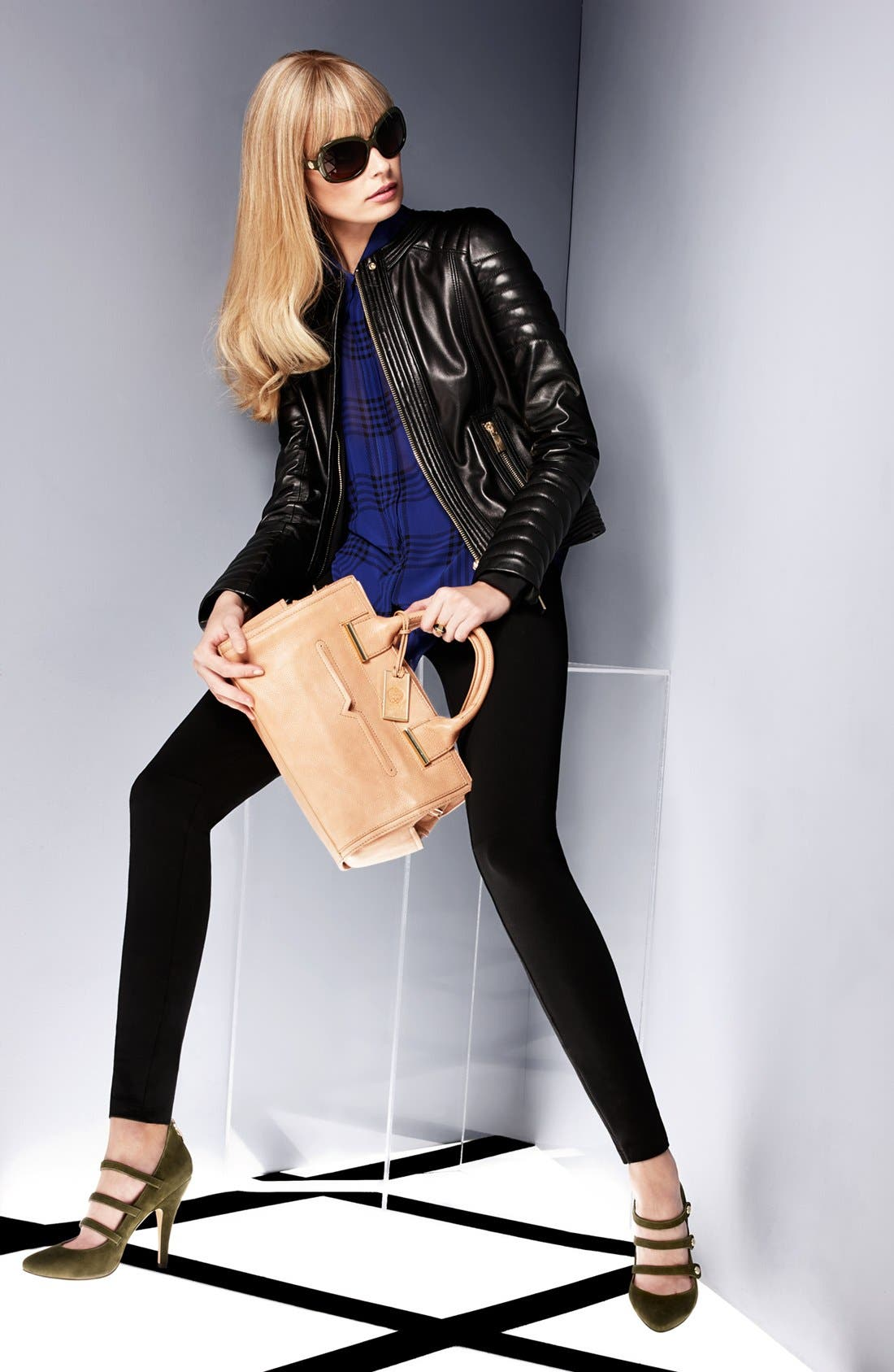 Alternate Image 6  - Vince Camuto Trapunto Quilted Leather Moto Jacket