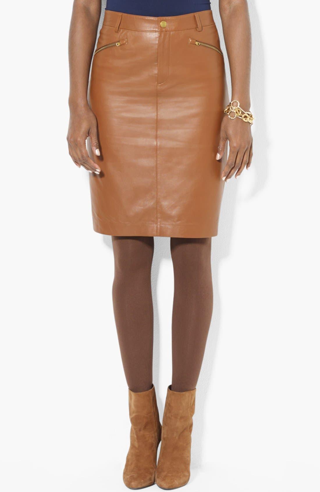 Main Image - Lauren Ralph Lauren Leather Pencil Skirt