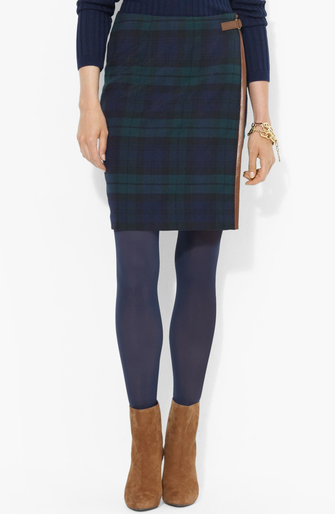 Main Image - Lauren Ralph Lauren Leather Trim Plaid Pencil Skirt