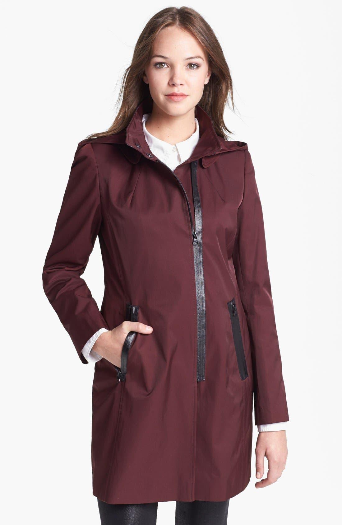 Alternate Image 1  - Via Spiga Asymmetrical Faux Leather Trim Raincoat (Online Only)