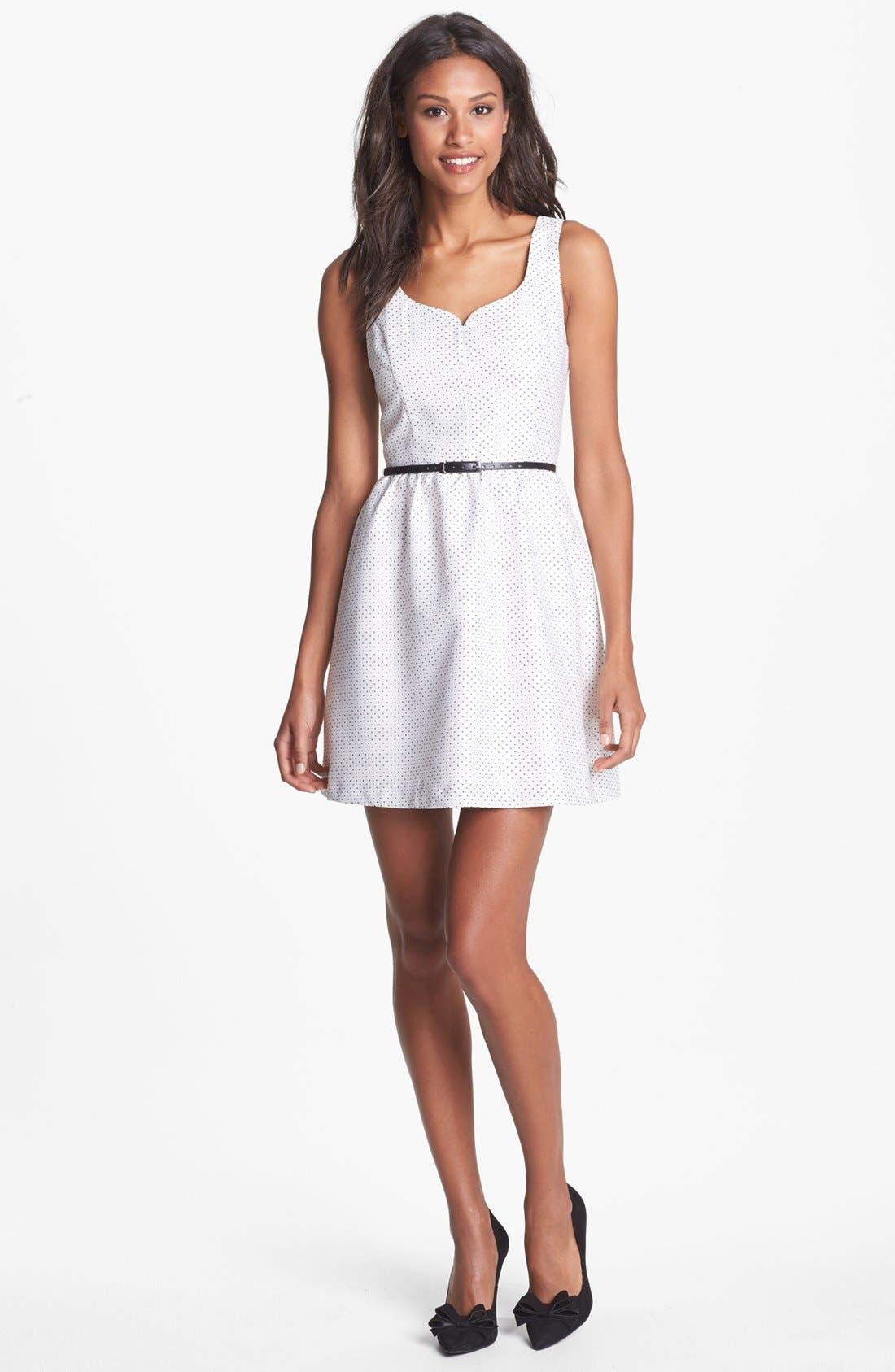 Alternate Image 1 Selected - kensie Dot Jacquard Fit & Flare Dress
