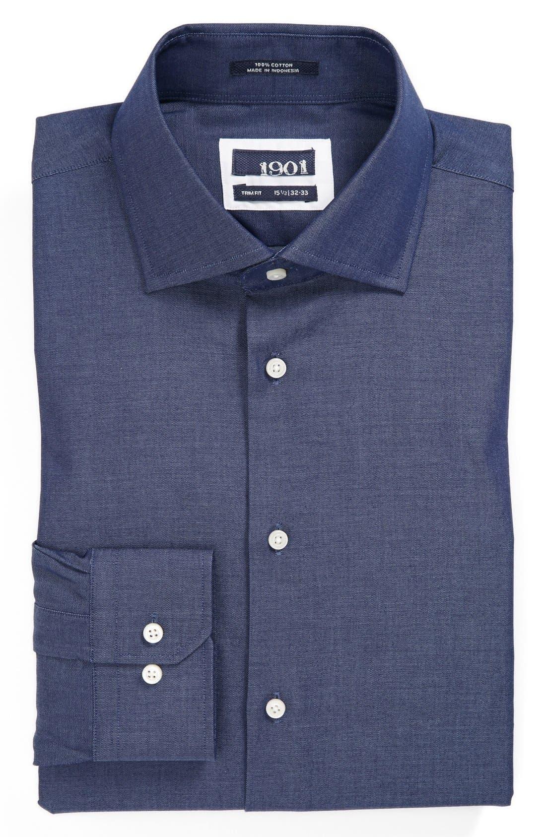 Alternate Image 1 Selected - 1901 Trim Fit Denim Dress Shirt