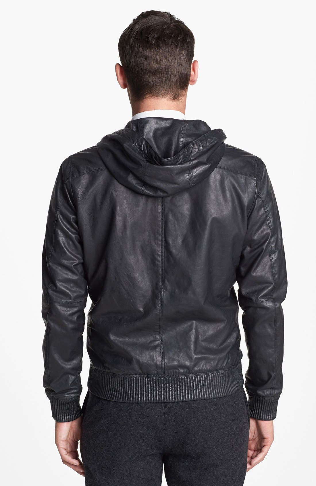 Alternate Image 2  - Vince Hooded Leather Bomber Jacket