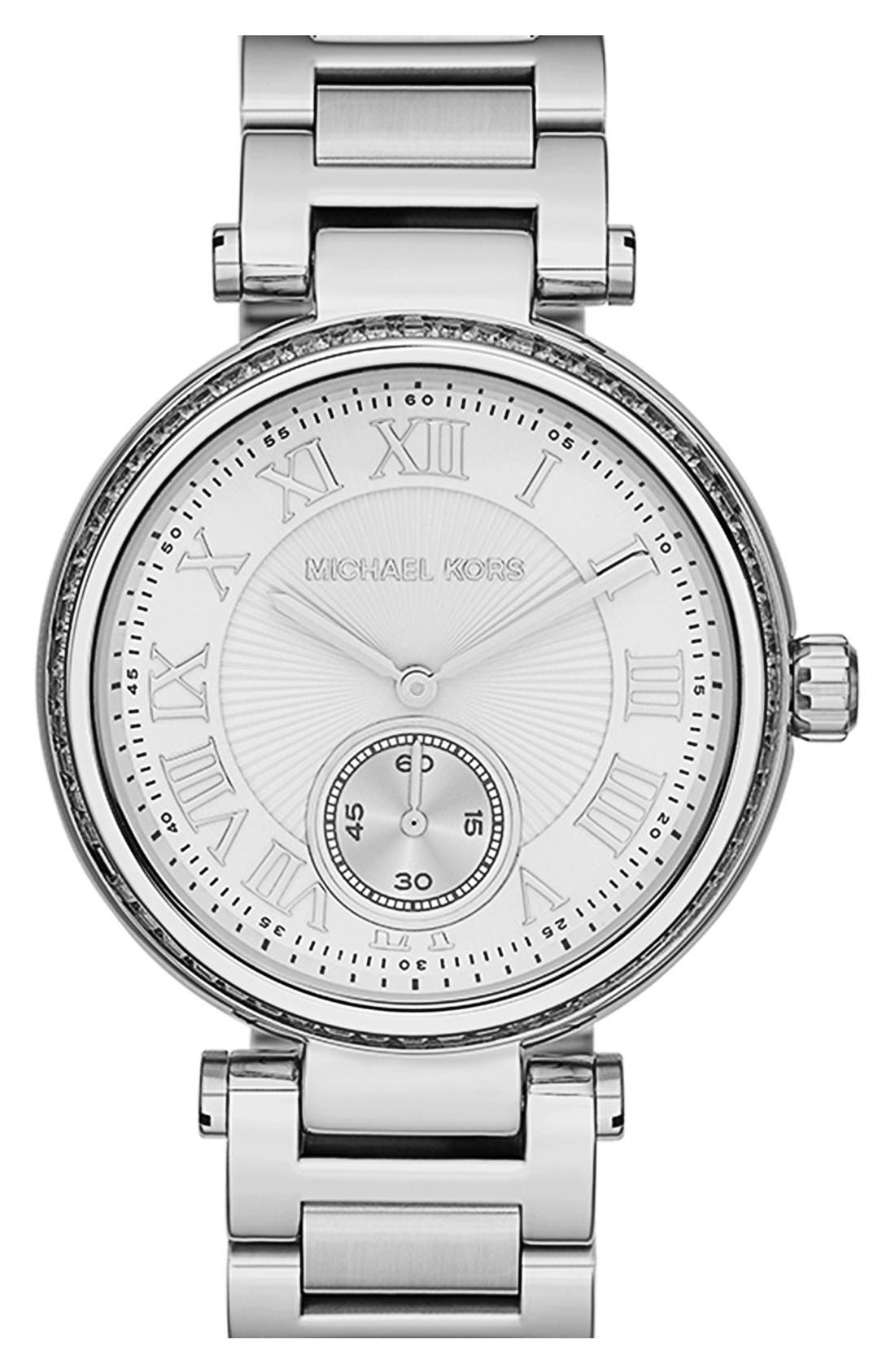 Alternate Image 1 Selected - Michael Kors 'Skylar' Crystal Bezel Bracelet Watch, 42mm