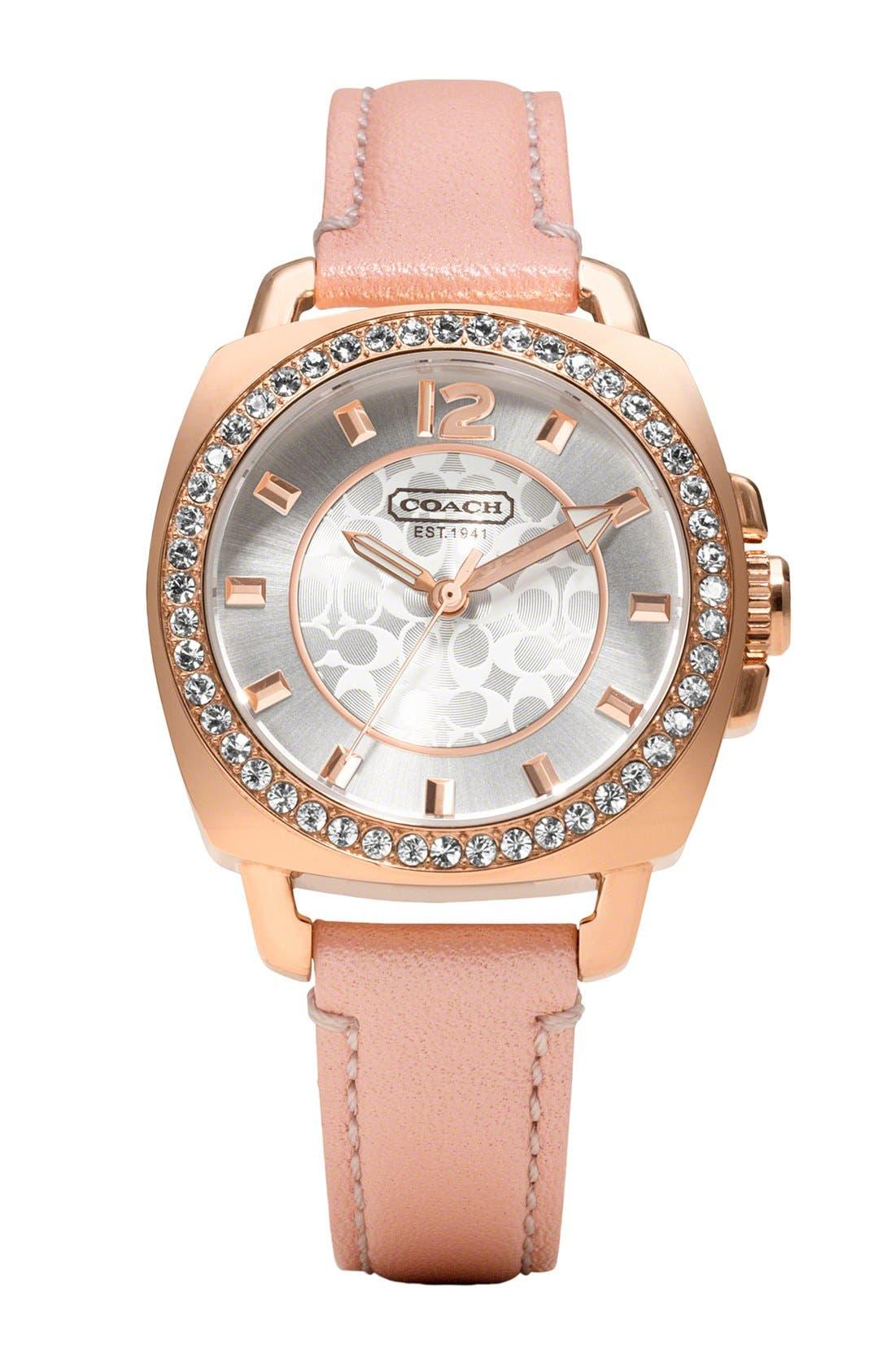 Main Image - COACH 'Boyfriend' Crystal Bezel Leather Strap Watch, 35mm