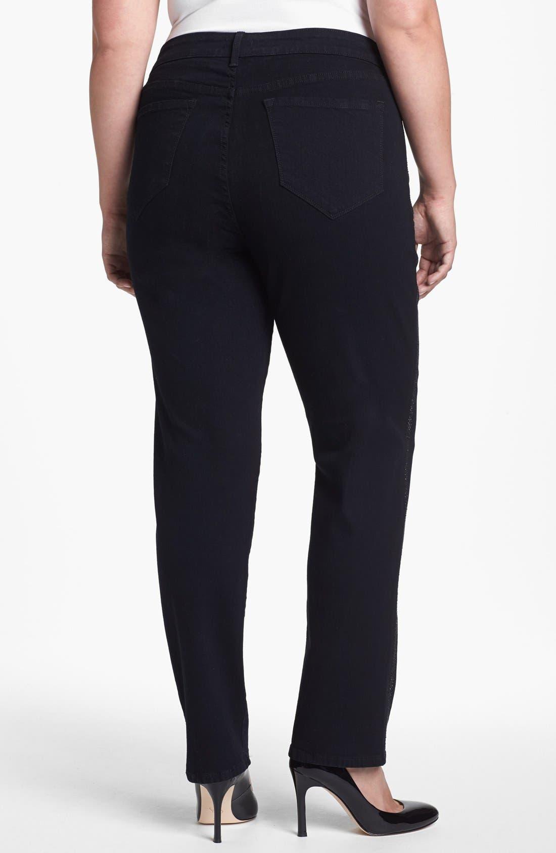 Alternate Image 2  - NYDJ 'Sheri' Embellished Trim Stretch Skinny Jeans (Plus Size)