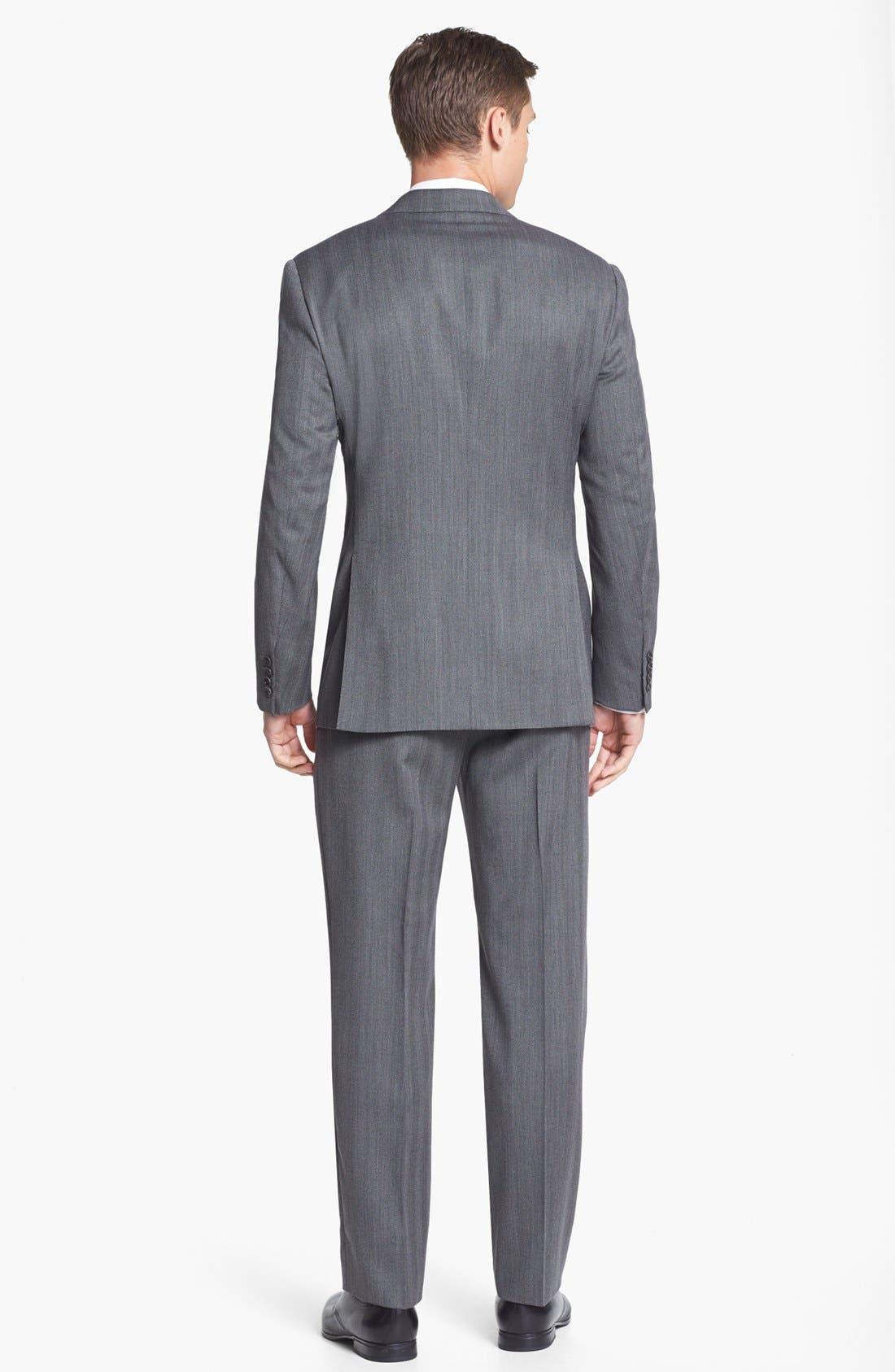 Alternate Image 3  - Armani Collezioni 'Giorgio' Grey Herringbone Wool Suit
