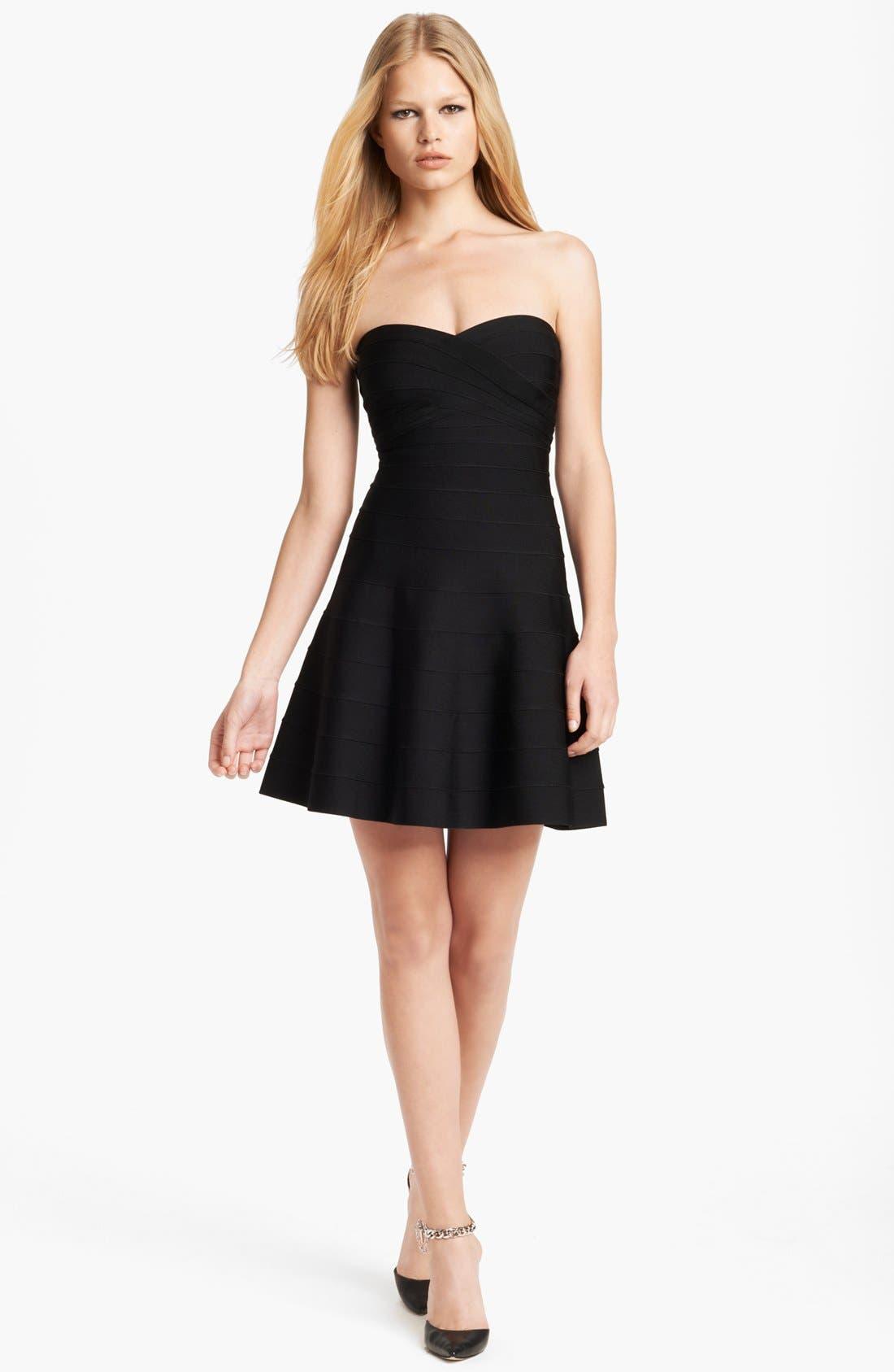 Main Image - Herve Leger Strapless Flare Skirt Dress