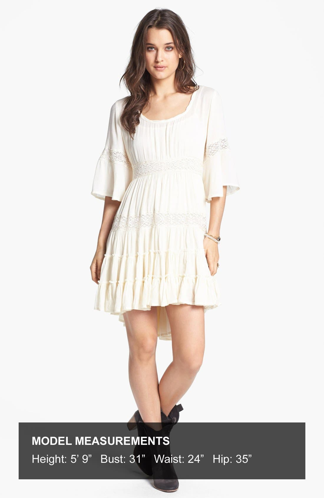 Alternate Image 4  - Free People 'Dream Cloud' Lace Trim High/Low Dress