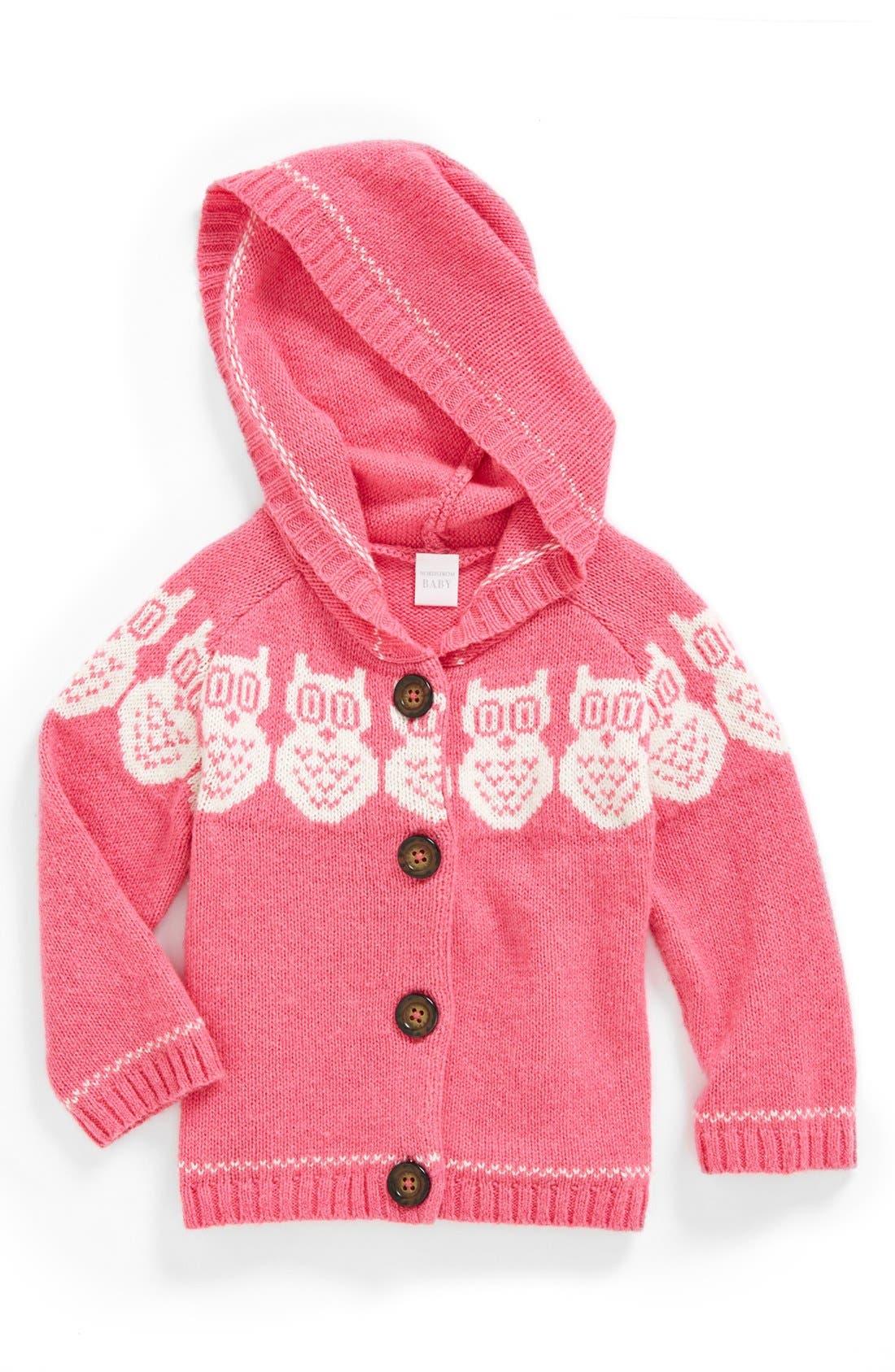 Main Image - Nordstrom Baby Fair Isle Knit Hoodie (Baby Girls)