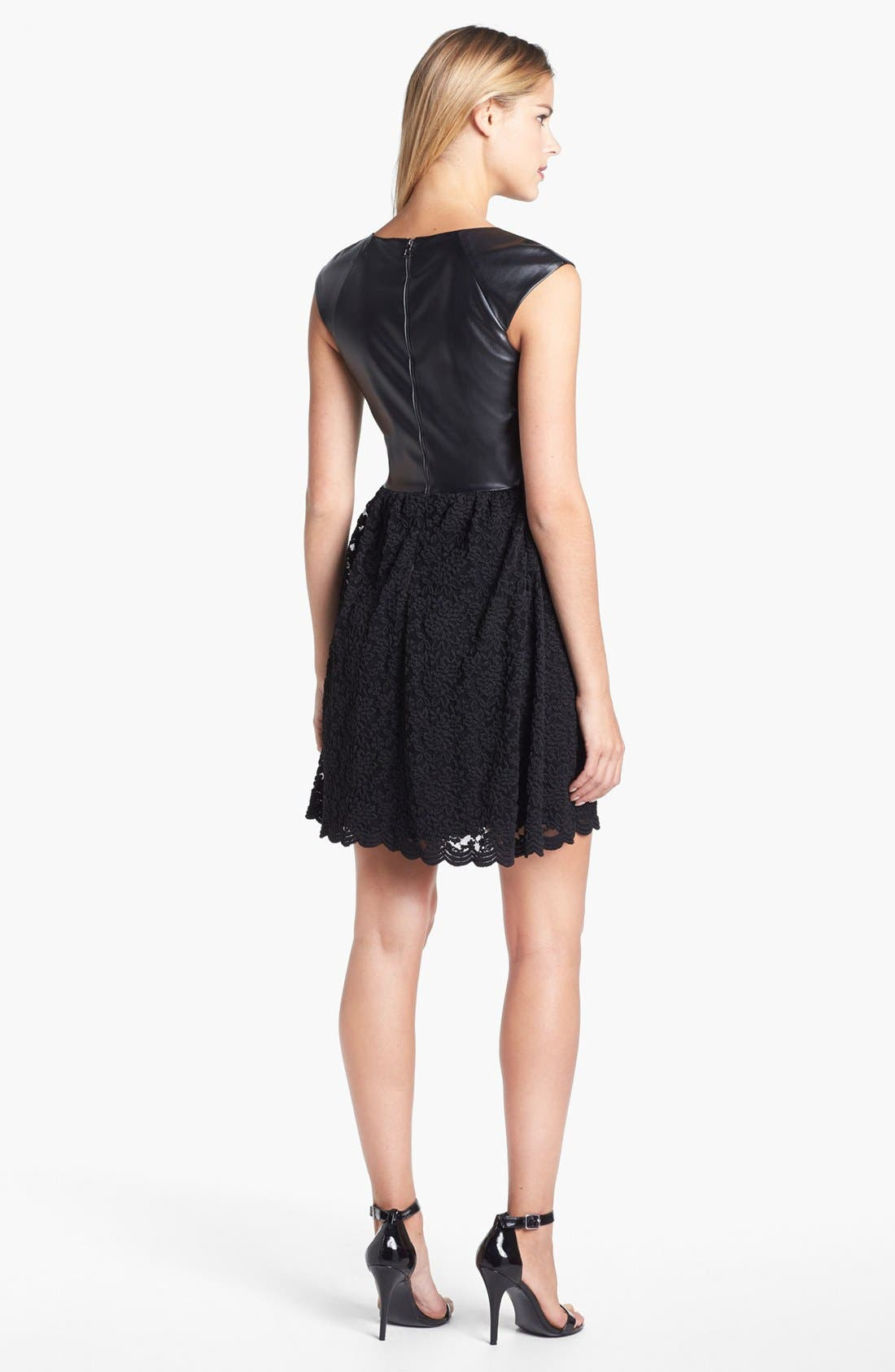 Alternate Image 2  - Betsey Johnson Faux Leather Trim Lace Fit & Flare Dress