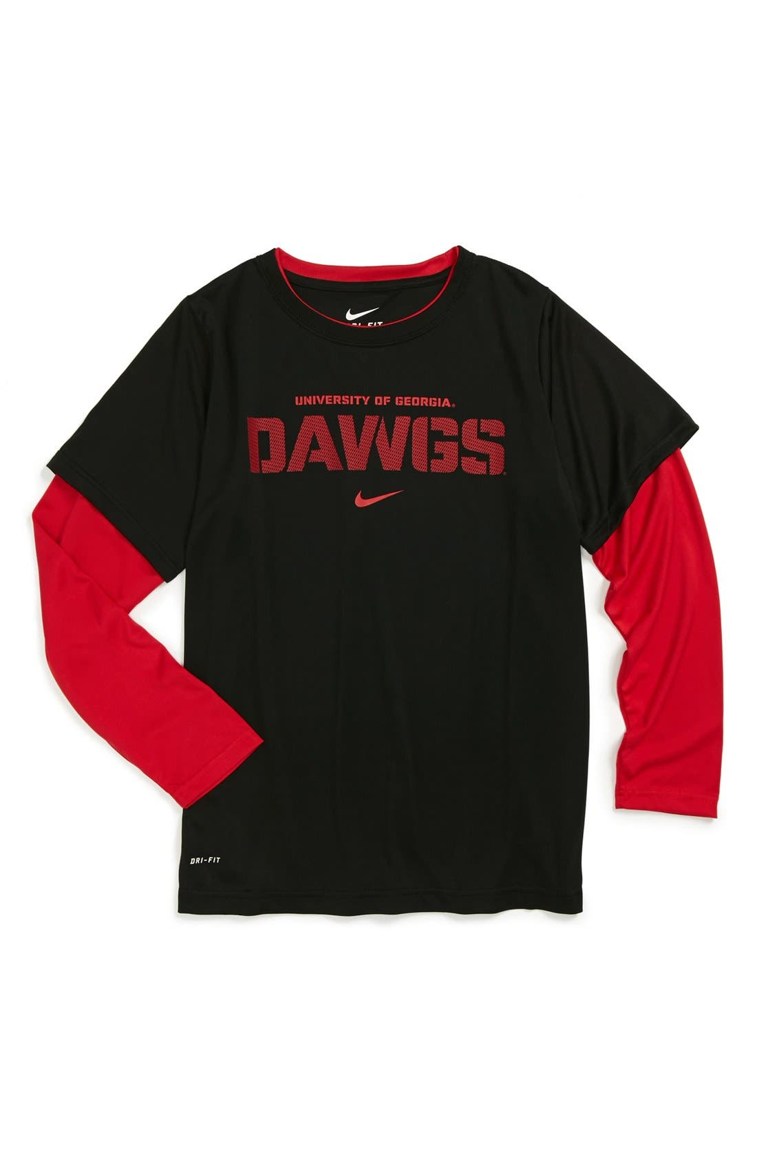 Main Image - Nike 'University of Georgia Bulldogs' Dri-FIT Layered Sleeve Sport T-Shirt (Big Boys)