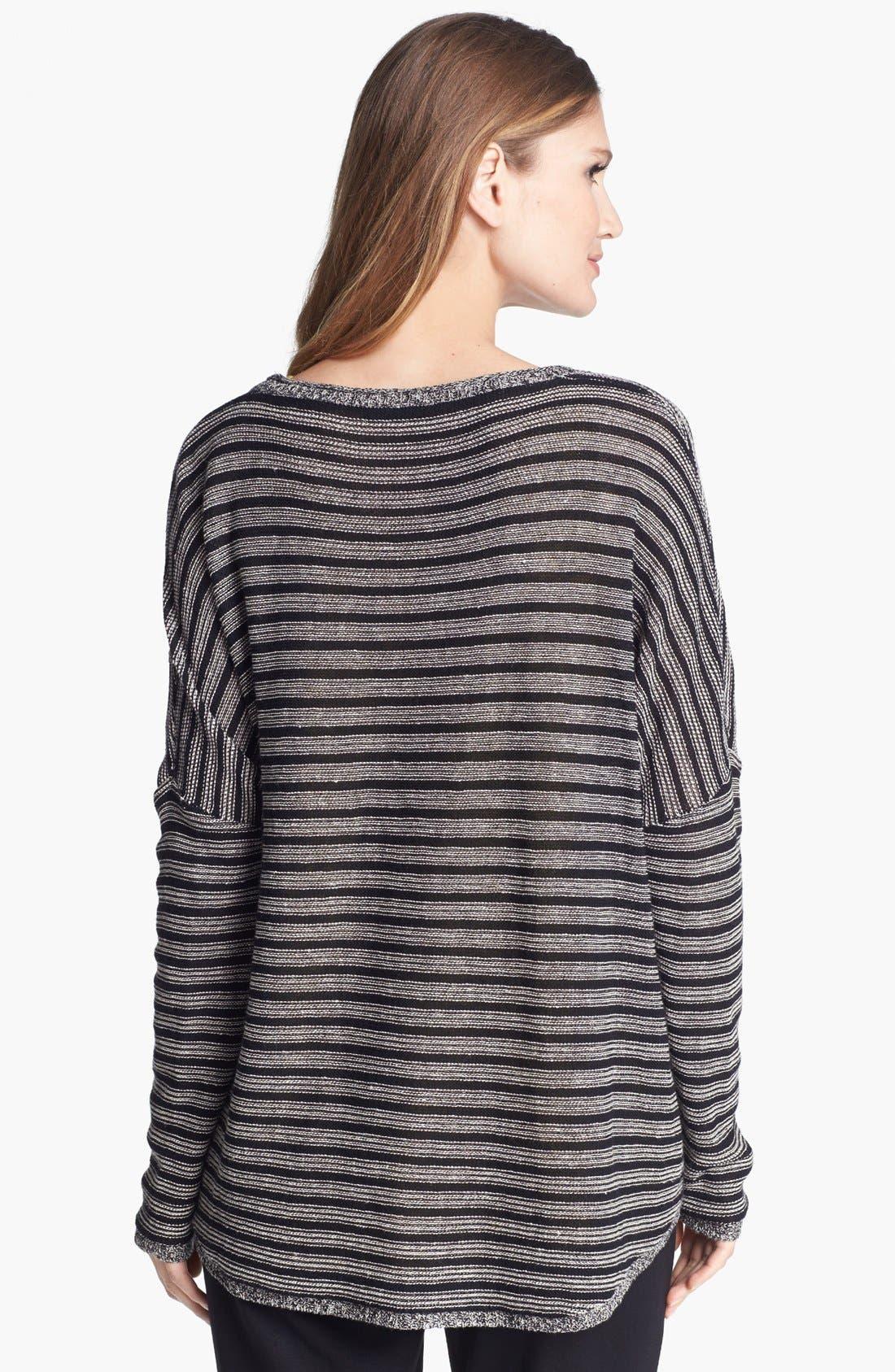 Alternate Image 2  - Eileen Fisher Wool & Linen Stripe Bateau Neck Sweater