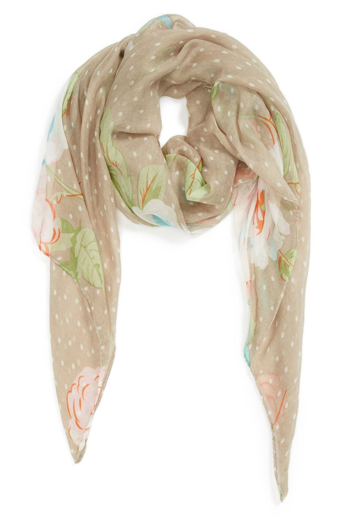 Main Image - David & Young 'Cabbage Rose' Scarf (Juniors) (Online Only)