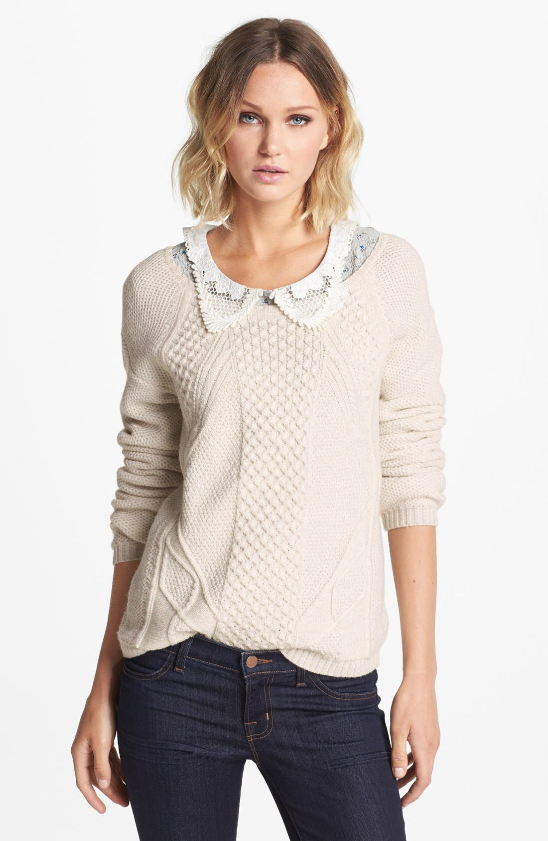 Alternate Image 1 Selected - Hinge® Mixed Cable Knit Sweater