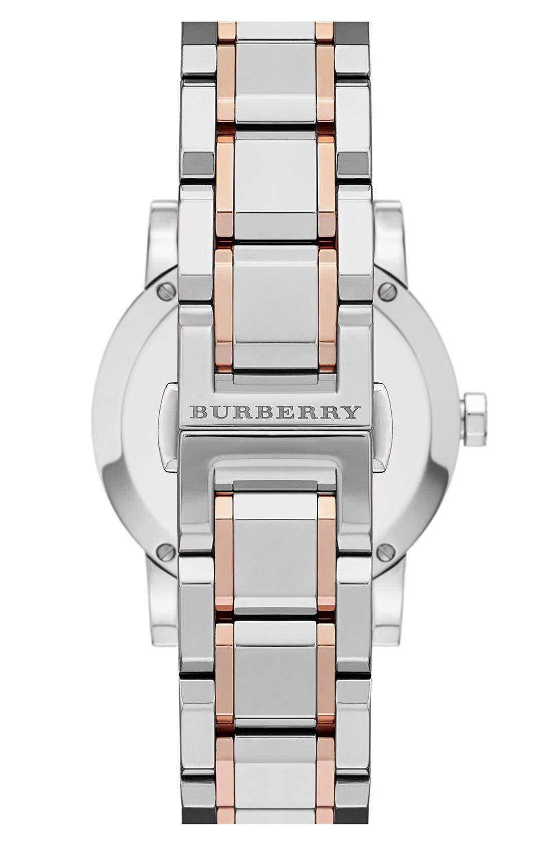 Alternate Image 2  - Burberry Medium Check Stamped Bracelet Watch, 34mm