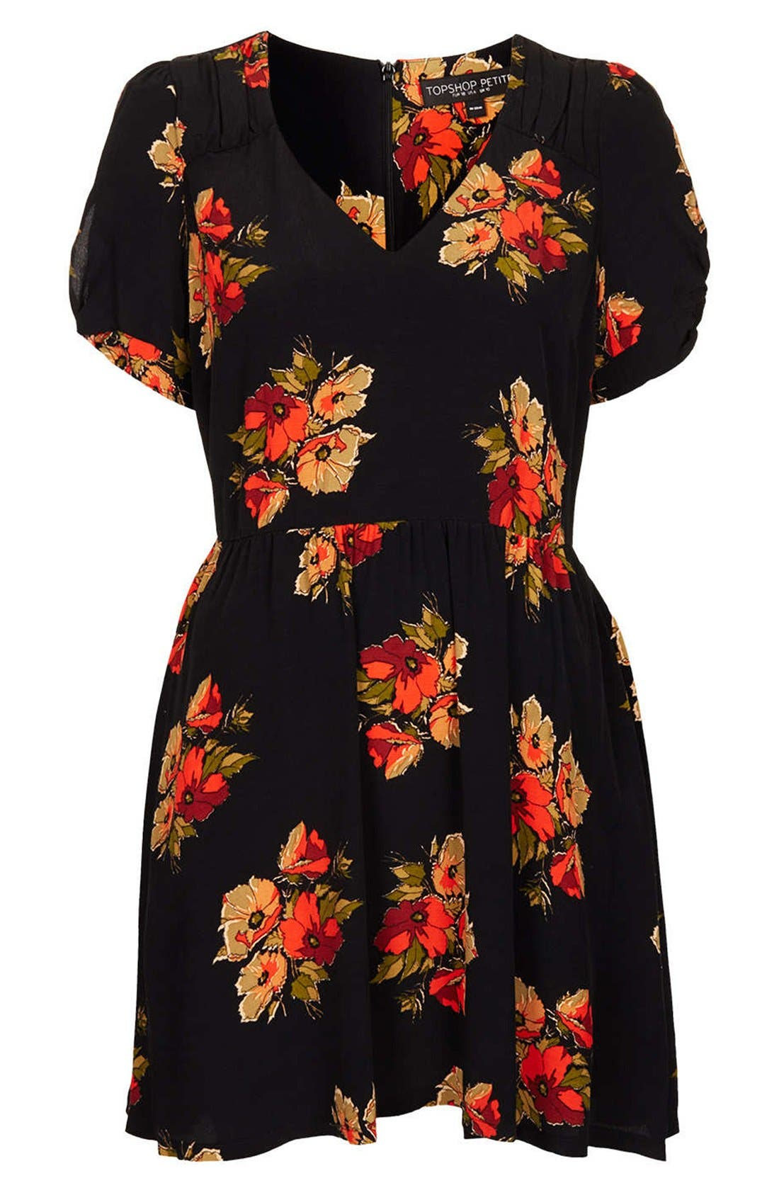 Alternate Image 1 Selected - Topshop 'Autumn Floral' Tea Dress (Petite)
