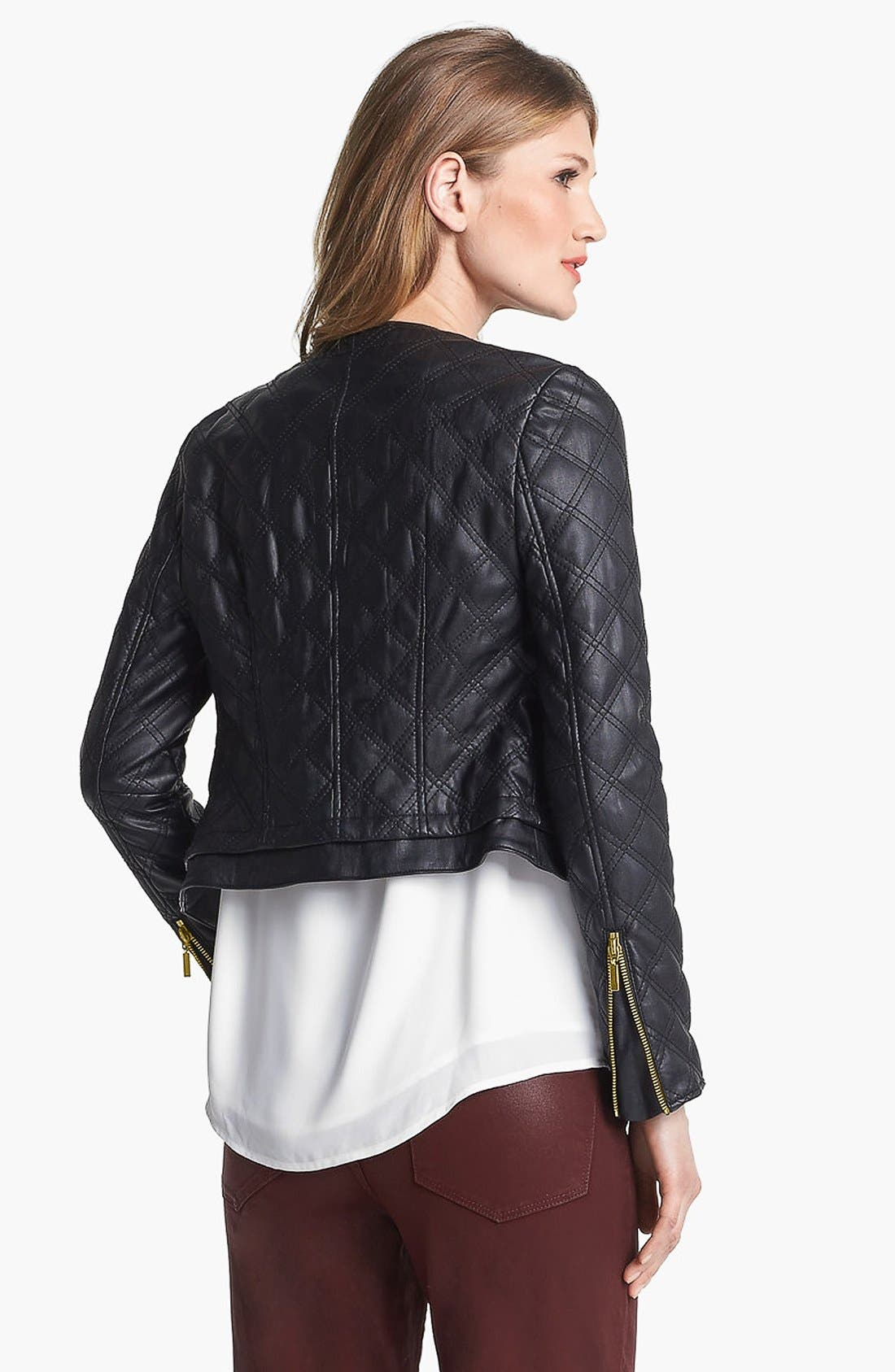 Alternate Image 3  - Chaus Collarless Quilted Faux Leather Jacket