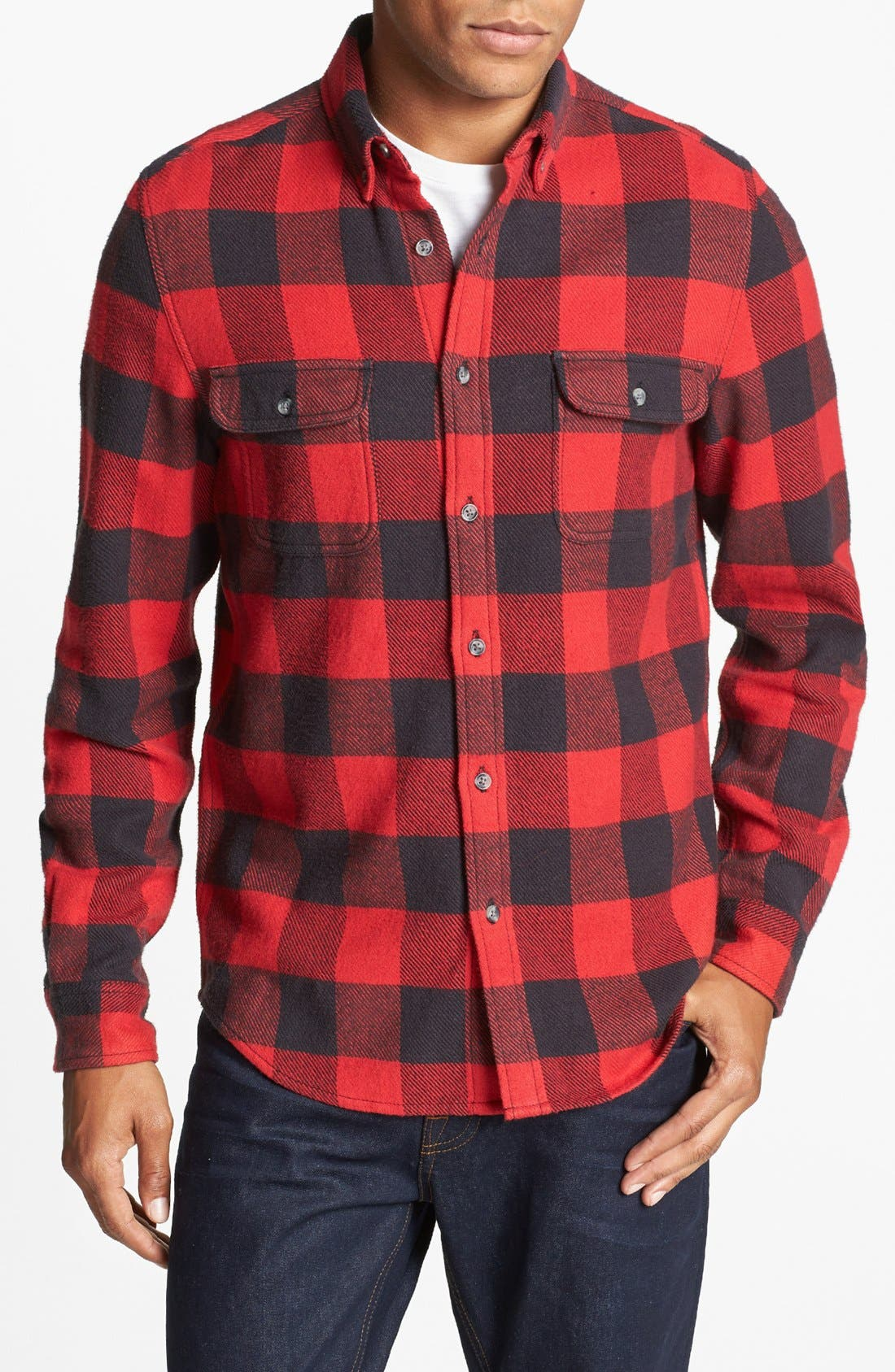 Alternate Image 1 Selected - Topman Classic Fit Buffalo Check Shirt