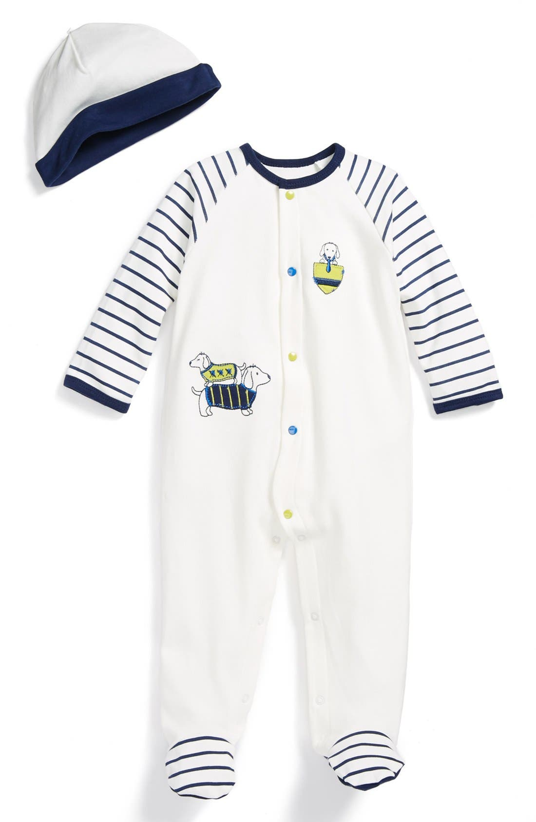Main Image - Little Me 'Dachshund' One-Piece & Hat (Baby Boys)