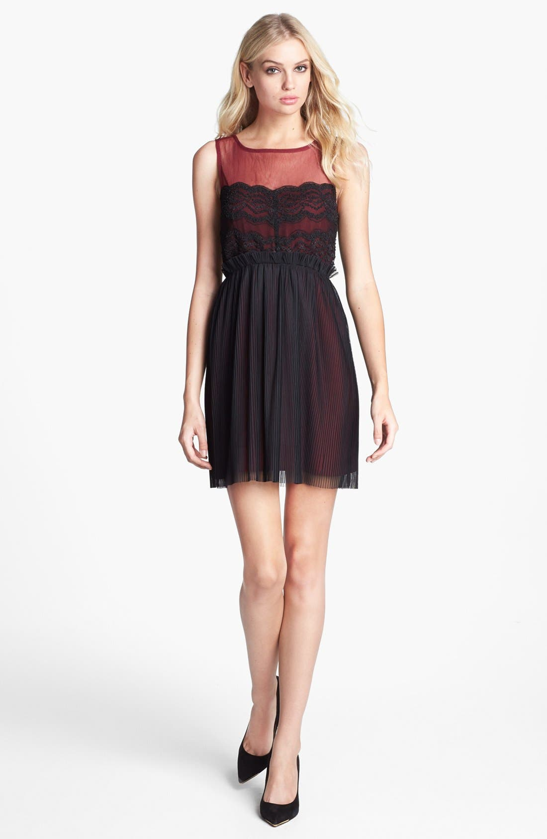 Alternate Image 1 Selected - Black Swan Lace & Chiffon Dress