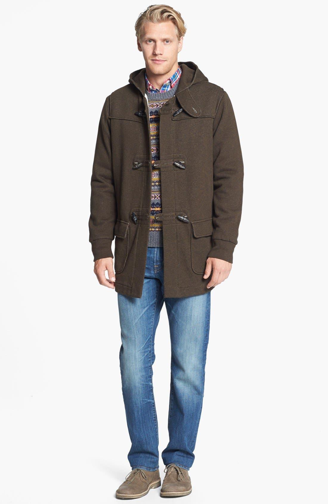 Alternate Image 3  - Grayers Toggle Fleece Jacket & AG Tailored Fit Straight Leg Jeans