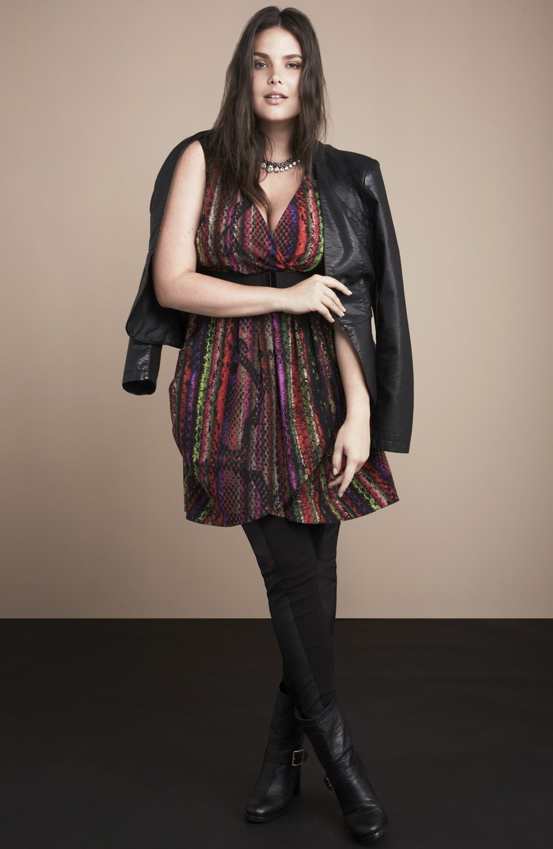 Alternate Image 6  - City Chic 'Rainbow Serpent' Lace Trim Print Top(Plus Size)