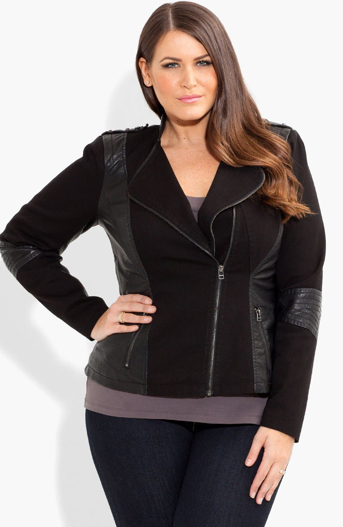 Alternate Image 1 Selected - City Chic 'Suri' Faux Leather Spliced Jacket (Plus Size)