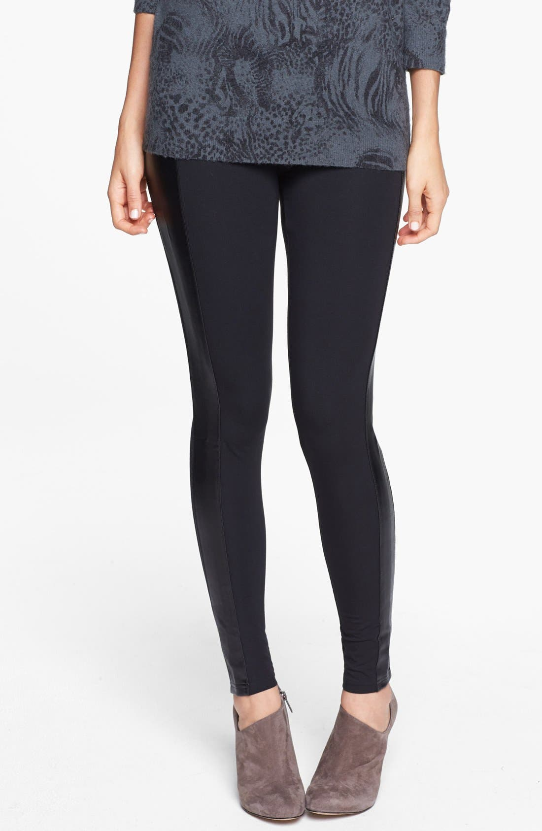 Alternate Image 2  - Frenchi® Faux Leather Trim Leggings (Juniors)