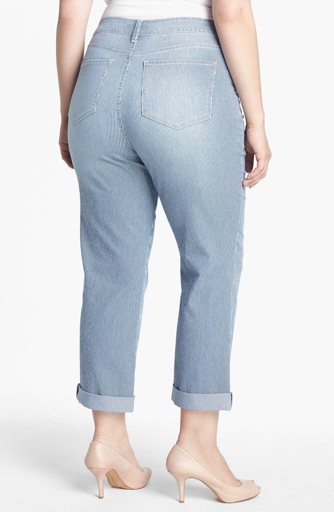 Alternate Image 2  - NYDJ 'Tanya' Railroad Stripe Boyfriend Jeans (Plus Size)