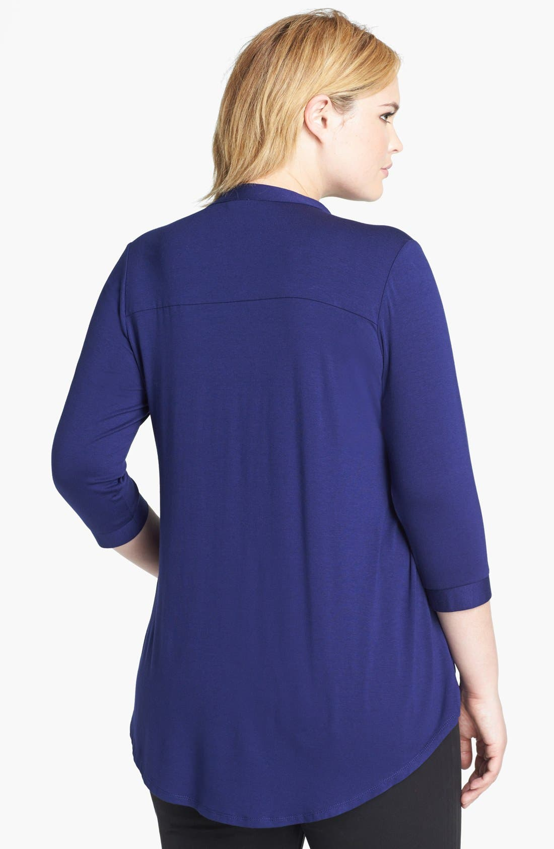 Alternate Image 2  - Evans Pintucked Jersey Shirt (Plus Size)