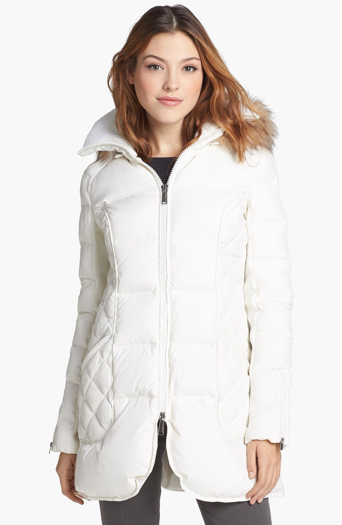 Main Image - BCBGeneration Faux Fur Trim Quilted Walking Coat (Online Only)