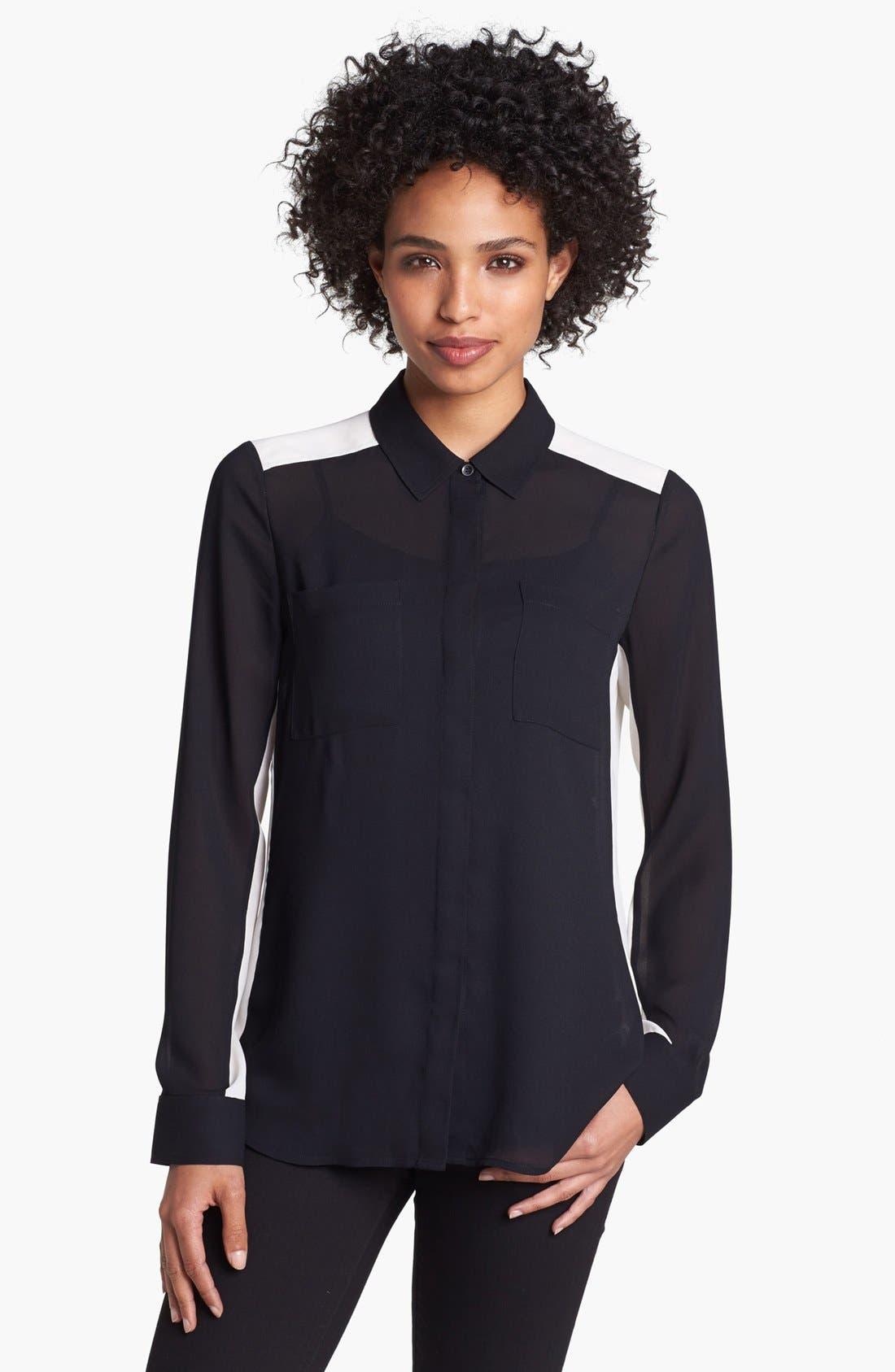 Main Image - Halogen® Contrast Collar Print Shirt (Petite)