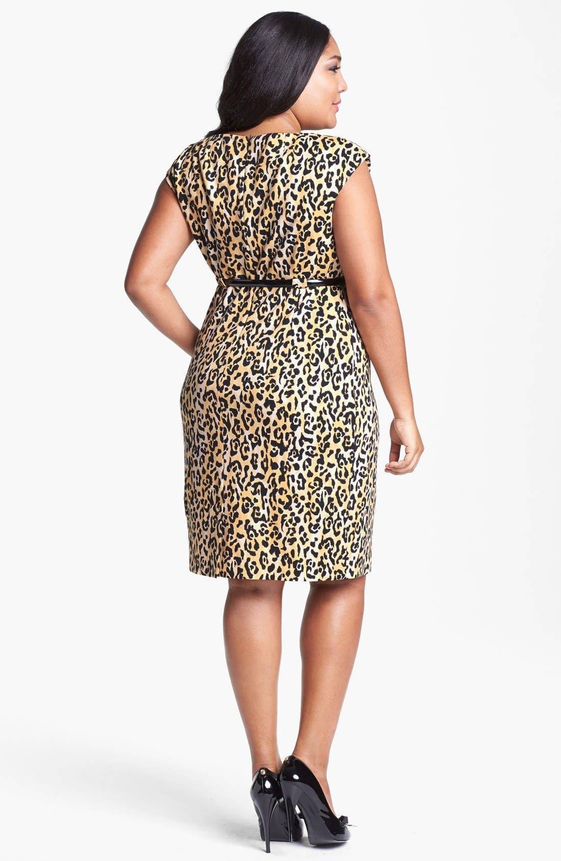 Alternate Image 2  - Calvin Klein Print Ponte Knit Sheath Dress (Plus Size)
