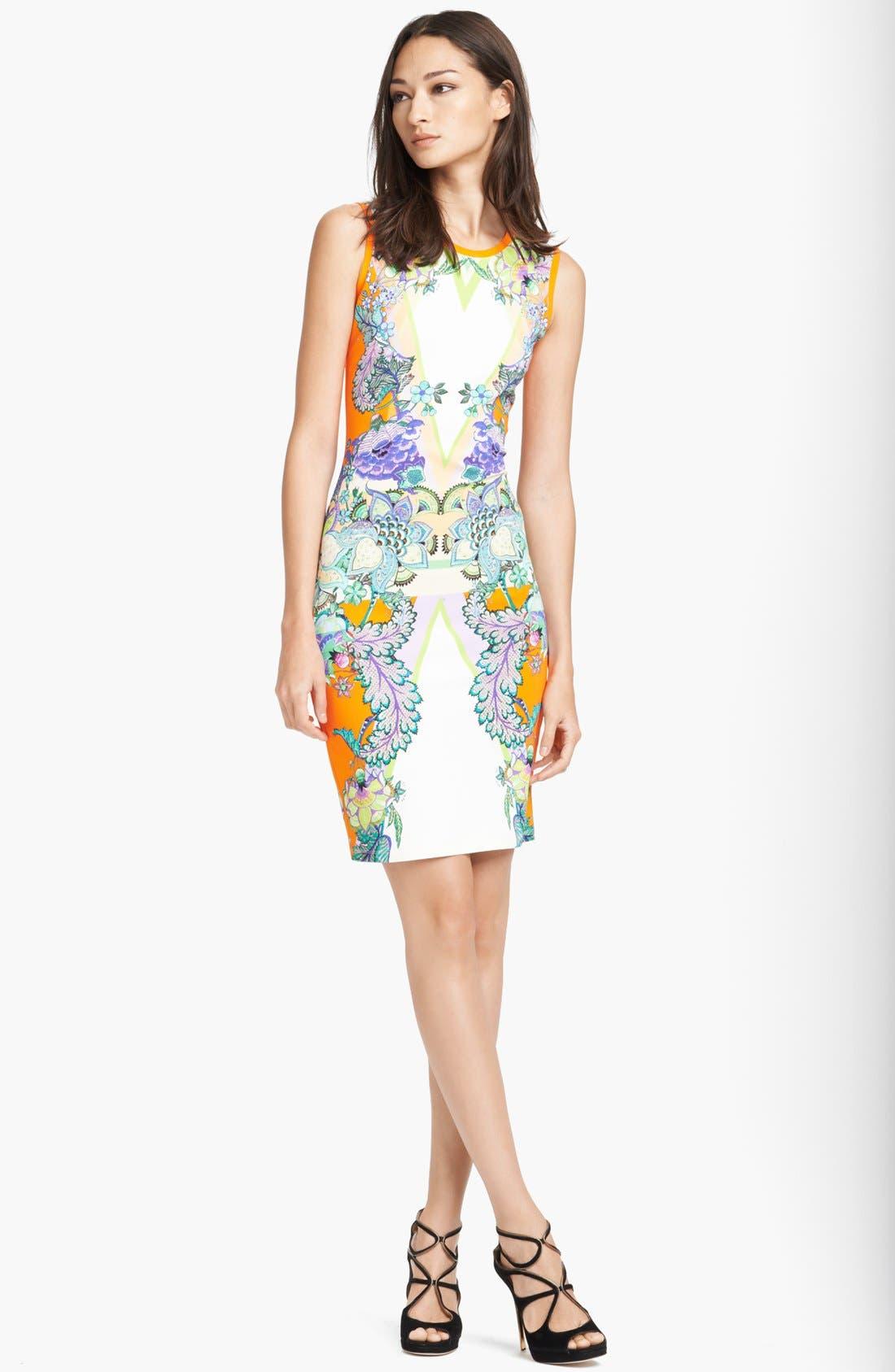 Main Image - Roberto Cavalli 'Padma Print' Punto Milano Dress
