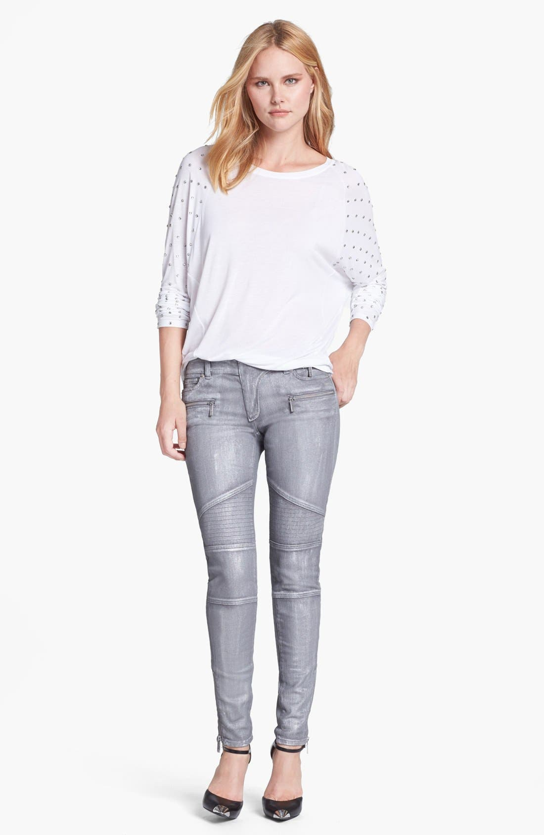 Alternate Image 5  - MICHAEL Michael Jeans Moto Skinny Jeans (Silver)